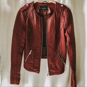BNCI by Blanc Noir Burgundy Faux Leather Jacket